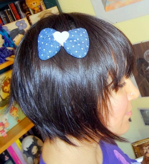 Denim Hair Bow - Denim Stuffed Ribbon Hair Bow in Dark blue Polka Dot & Pink Furry Heart Center with Alligator clip