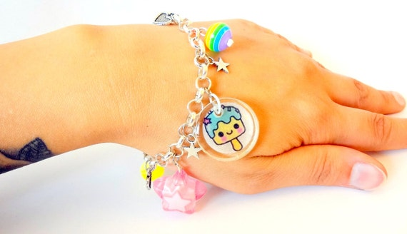 Kawaii Charm Bracelet - Silver colored chain with Colorful Resin Charms