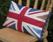 Union Jack Pillow Cover  18 inch by 10 inch Oblong  Vintage Style Union Jack Front and Scrambled Union Jack Back