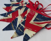Union Jack Bunting, Fabric Bunting, Vintage Union Jack Banner, Distressed  Style  Red & Blue, Select Length required
