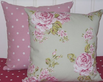 Cushion Covers, Pillow Cases, Sage Green cushion cover, cottage chic cushion cover, Cottage Style Pillow Cases, Roses, Pink Dotty,  16 x 16,