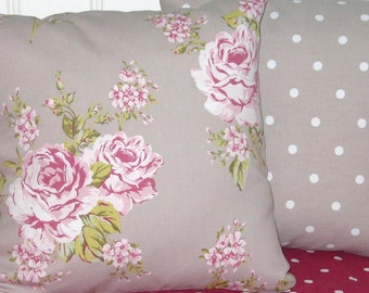 Pillow covers, cushion covers, cottage  chic, 16 x 16 or  18 x 18 Taupe Roses, cottage chic,  Taupe Polka Dots, pink  English Roses
