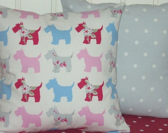 Two 16 inch Scottie Dog Cushion Covers, Scottie Dog Pillow Covers, Pastel  Dog Themed Cushion Covers backed with Grey Dotty Print