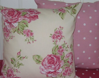 Cream and Pink Cushion Covers, vintage style cushion covers,  Cream Pillow Covers, Pink Roses, Decorative Pillow Covers, Pink Dotty, 16 x 16