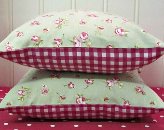 Cushion Covers, 16 x 16, Sage Green, shabby chic,  Pillow Shams, Rosebud, Floral Pillow Covers, Raspberry Red Gingham check 16 x 16 inch