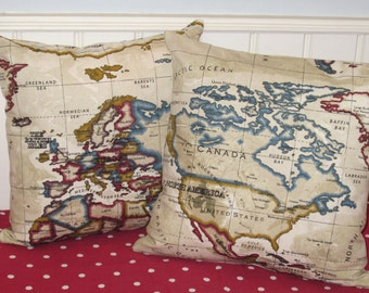 World Map Pillow Covers, World  Map Cushion Covers, Vintage Map Pillow Cases, UK, Decorative Pillow Cases, Beige Vintage Map Pillow Cases .
