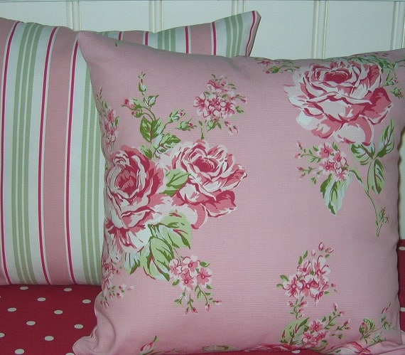 16 inch  Pillow Cushion Covers  Set of Two Pink Roses  backed with pink and green Stripe  Vintage Style Chic
