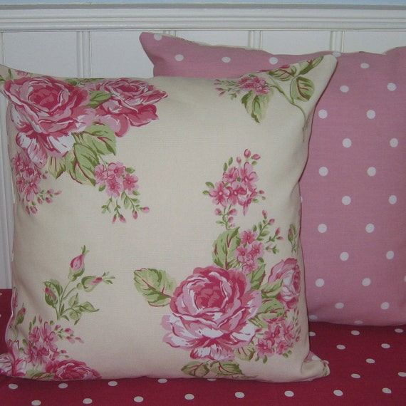 Pink Cushion Covers, cottage  chic, pillow cover, cushion covers,  Pillow Covers, Pink Roses, Decorative Pillow Covers, Pink Dotty, 16 x 16