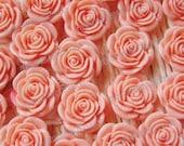 20 pcs of Resin Flower Chian Rose Cameo Flat back 20mm Pink / Hot Pink