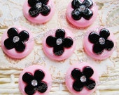 Pink Setting with Black Flower and Rhinestone Cabochons (22mm) - 7PCS