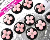 LFB-CR-010 // 22mm Black Bottom Pink Flower with Rhinestone Round Cabochon/Cameo Flatback, 10 pc