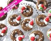 19mm Flatback Strawberry Ice Cream Doughnut Round Cabochon Chocolate, 9 pc