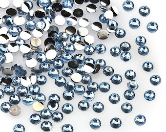 300pcs Flatback Faceted Rhinestones/Gems (3mm) Light Blue xc-015