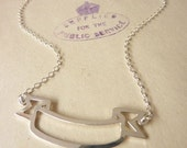 Tattoo Style Banner Silver Necklace