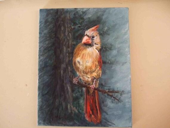 Quirky Mrs. Cardinal 11x14 Original Painting