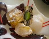 Green alpaca silver semi precius stone Adjustable Ring