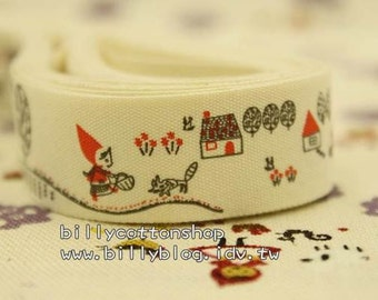 V122 - cotton tape/ sewing tape/ Ribbon - cotton - red ridding hood