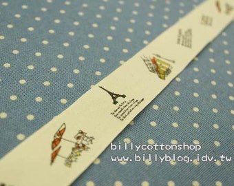 V145 - cotton tape/ sewing tape/ Ribbon - cotton - love in Paris