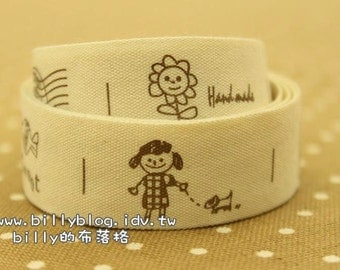 V200 - cotton tape/ sewing tape/ Ribbon - cotton - cute girl