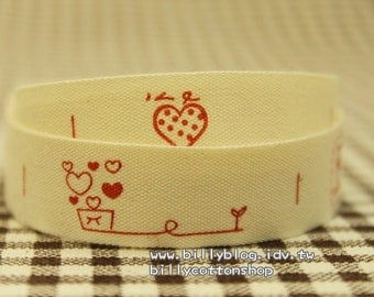 V371 - cotton tape/ sewing tape/ Ribbon - cotton - sweet heart