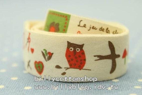 V143 - cotton tape/ sewing tape/ Ribbon - cotton - owl