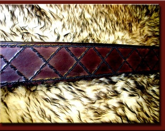 CROSS HATCH Design • A Beautifully Hand Tooled, Hand Crafted Leather Guitar Strap