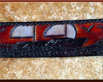 SAILBOATS Design - A Beautifully Hand Tooled, Hand Crafted Leather Guitar Strap