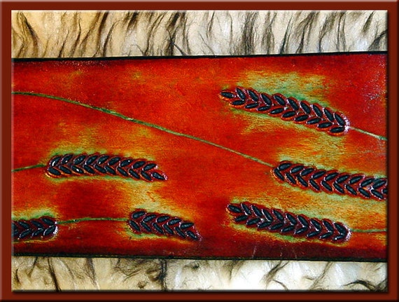 WHEAT Design - A Beautifully Hand Tooled, Hand Crafted Leather Guitar Strap