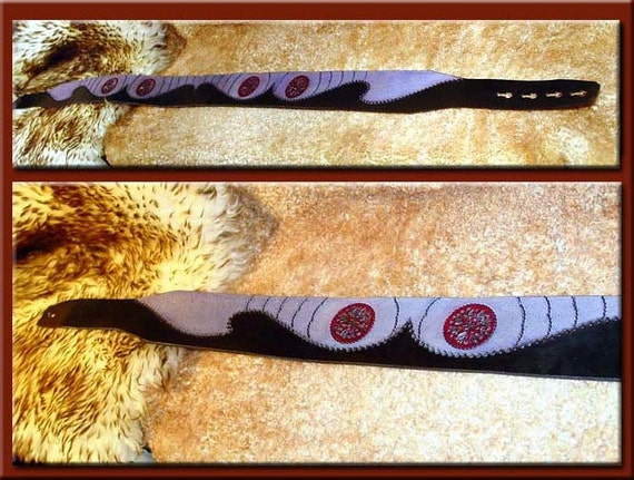Red EYE of HORUS MANDALA Design • A Beautifully Hand Tooled, Hand Crafted Leather Guitar Strap