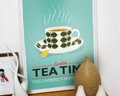 Tea print, kitchen art, Stig Lindberg Bersa , Scandinavian design, retro kitchen art, tea poster, turquoise art,  wall decor, kitchen poster