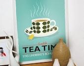 Tea print, kitchen art, Stig Lindberg Bersa , Scandinavian design, retro kitchen art, tea poster, turquoise art,  wall decor, kitchen poster