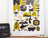 Star Wars poster, Retro print, Movie art, Nursery wall decor,  illustration, art, A New Hope 16 x 20
