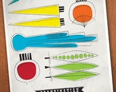 Vintage kitchen print. Food  print.  Mid  century art print.   retro kitchen poster.  Vintage kitchen wear.  - Scandinavian picknick A3