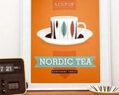 Tea print, kitchen decor,  tea illustration, scandinavian design, vintage tea cup art,  - Cup of Nordic tea A3