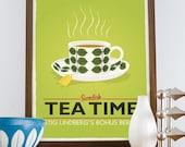tea print, tea poster, kitchen print, tea cup, stig lindberg bersa, scandinavian design, kitchen poster, lime green art, retro kitchen decor