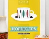 Tea cup  print kitchen art poster    - Nordic Tea  Rorstrand scandinavian retro