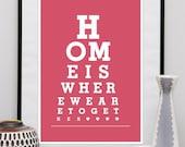 Typography print, Housewarming print, eye chart print, custom color print, quote art, modern wall decor, Home decor, Modern wall art