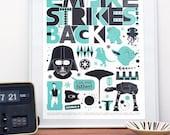 Star Wars Empire Strikes Back Movie Poster, Minimalist movie poster A3