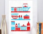 Kitchen print, art for kitchen, kitchen poster, scandinavian print, nordic design, kitchen art, cathrineholm print, mid century modern A4
