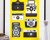 Camera print, polaroid poster,  Vintage camera art, baby nursery art, yellow poster, Retro Cameras A2