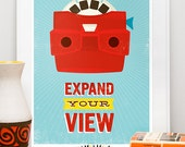 quote print, typography print, retro poster, viewmaster, inspirational art, nursery print, motivational art, Expand your view 8x10, A4