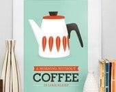 Art For Kitchen, Cathrineholm,  Kitchen print,  coffee print, kitchen art, Mid century modern poster, Coffee art  A3 size Seagreen blue