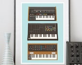 Poster Geekery print , Analog Synthesizer Poster, hipster Music poster, Nerd print, geek Retro print - Minimoog, roland, Korg A3