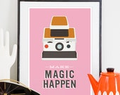 Inspirational print, quote poster, polaroid sx70, geekery art, motivational print, typography print, retro poster, pink, polaroid poster