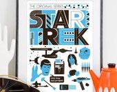 Star Trek Poster Movie poster Retro Scandinavian style - The Original Series A3