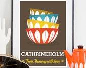 Cathrineholm bowls, Mid century poster print , cathrineholm poster,  Kitchen decor,   art for kitchen, retro print  A3