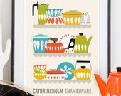 Cathrineholm Kitchen art cathrineholm poster, kitchen print, Art for Kitchen,  Mid century poster, Cathrineholm Enamelware A3