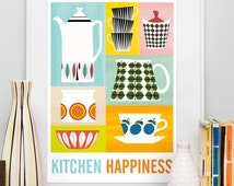 Unique retro kitchen related items etsy - Poster per cucina ...