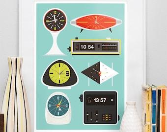 Retro Clock print, Mid Century poster, Eames era, vintage clock, flip clock illustration, nursery decor A3