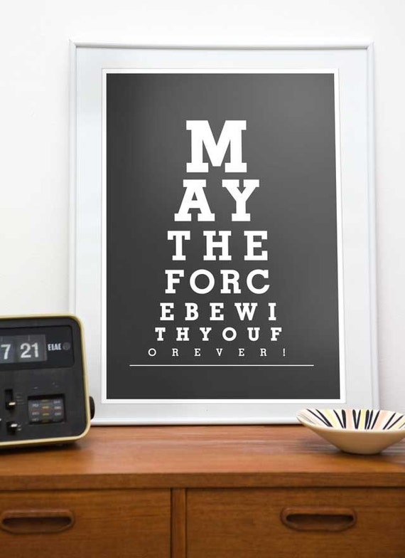 Star wars print, art for nursery,movie poster, typography print, movie quote poster, mimimalist poster May the force be with you